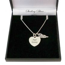 Engraved Heart with Angel Wing, Sterling Silver Necklace
